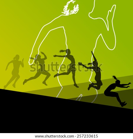 Woman girl triple long jump flying active sport athletic silhouettes illustration  - stock vector