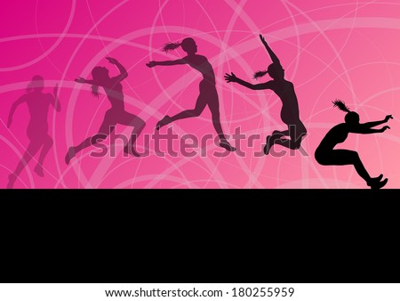 Woman girl triple long jump flying active sport athletic silhouettes illustration collection background vector - stock vector