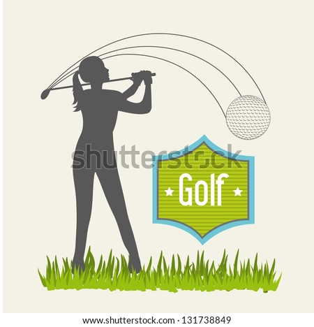 woman golfer over beige background, golf. vector illustration - stock vector