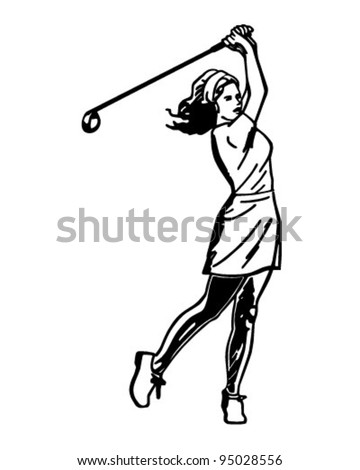 Woman Golfer 3 - Retro Clipart Illustration - stock vector