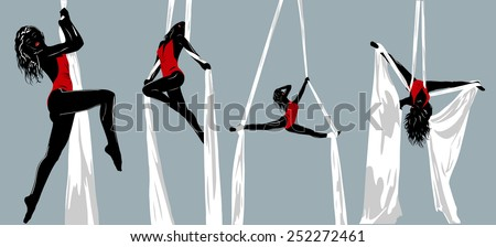 Woman gymnast silhouettes. EPS 10 format. - stock vector