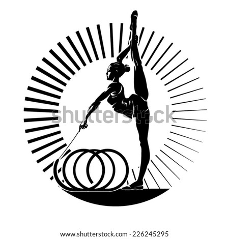 Woman gymnast. Vector illustration in the engraving style - stock vector