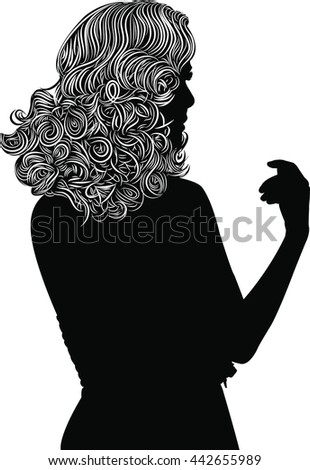 Woman Hair style Silhouette - stock vector
