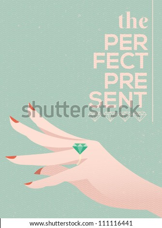 woman hand wearing engagement ring vector illustration eps 10
