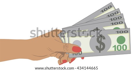 Woman hand with dollars on white background, Close-up Hand Holding Us Dollars, Pictograph of money in hand - stock vector