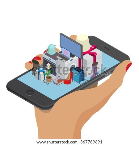 Woman hand with mobile phone. Smartphone with different household. Online shopping isometric design. Order, checkout, payment, delivery, shipping worlwide, web, 3d isometric illustration - stock vector