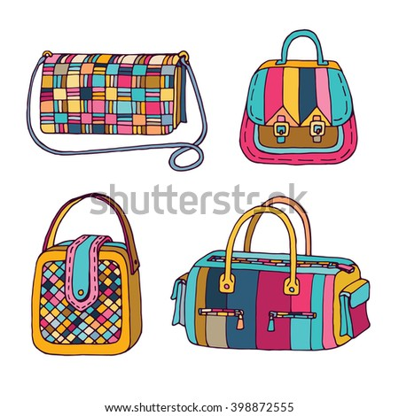 Woman handbags set. Fashion bags collection. Female bag doodle hand drawn vector illustration. Colorful accessories. Isolated on white background. - stock vector