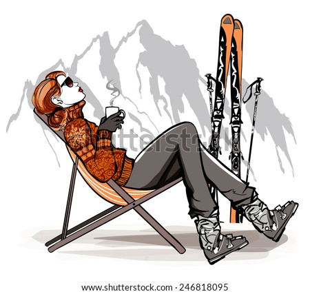 Woman having a break drinking coffee after skiing - vector illustration - stock vector