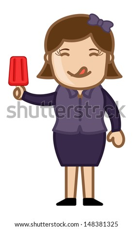 Woman Having Lolly Ice-cream - Cartoon Business Vector Character