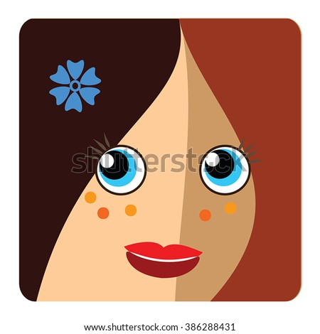 Woman head icon vector. Brown curly haired beautiful young girl smiling face on square button. Freckles face and blue cornflower in hair. Vector user icon, avatar icon, personal user picture. - stock vector