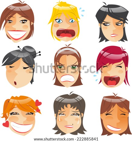 Woman Head People Character Avatar Expressions Profile Front View Set, vector illustration.  - stock vector