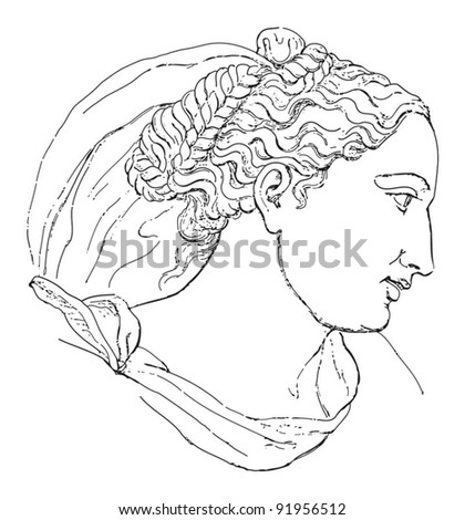 Woman head - sculpture by Begarelli / vintage illustration from Meyers Konversations-Lexikon 1897
