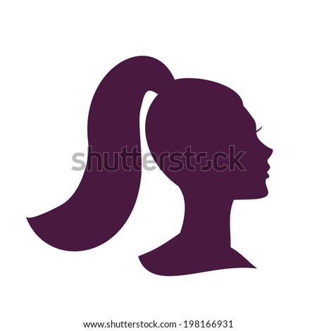 woman head silhouette beautiful girl icon pretty girl with pony tail hairstyle vector