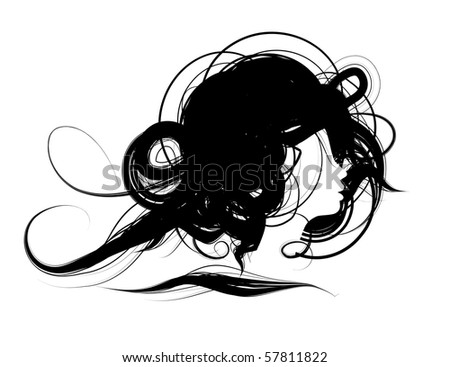 Woman head silhouette, hairstyle design - stock vector