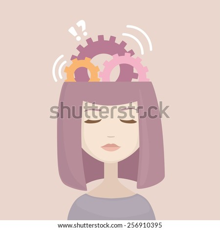 Woman head with gears signs. generation of ideas. Thinking female head. Flat modern design vector illustration.  - stock vector