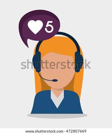 woman headphone bubble avatar call center technical service icon. Colorful design. Vector illustration