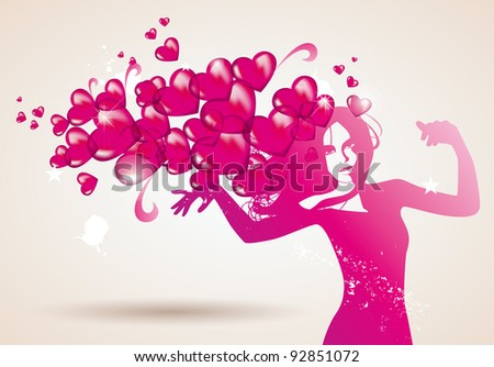 woman heart love valentines - stock vector
