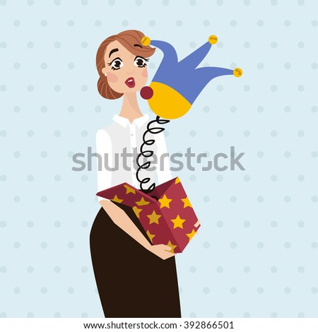 woman hold a jack in the box toy, springing out of a box. Business vector illustration. - stock vector