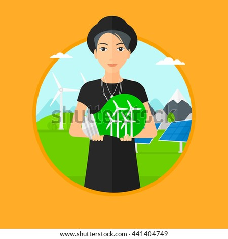 Woman holding a big light bulb with small wind turbines inside. Man standing on a background with solar pannels and wind turbines. Vector flat design illustration in the circle isolated on background. - stock vector