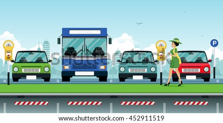 Woman holding a coin is paid parking with bus and car as a backdrop.  - stock vector