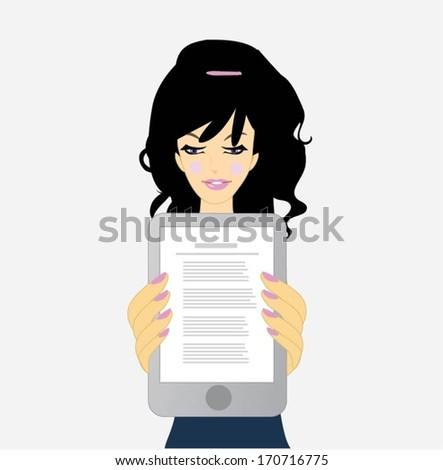Woman holding a tablet computer - stock vector
