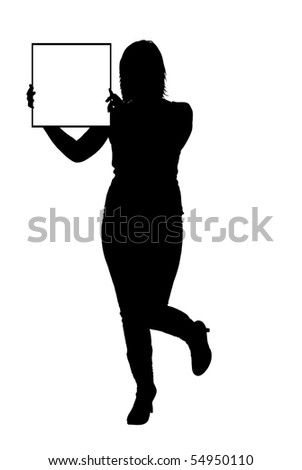 woman holding sign vector - stock vector