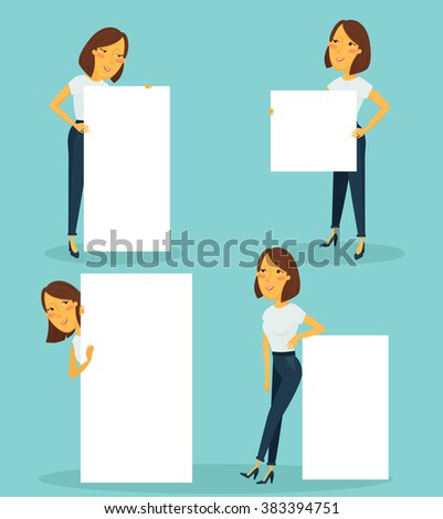 Woman holding sign vector set - stock vector