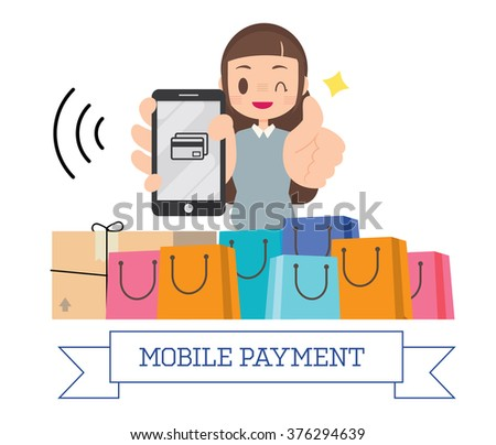woman holding smartphone with shopping bags, shopping online mobile payment conceptual vector - stock vector