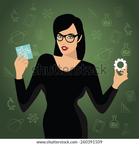 Woman holding STEM icons. EPS10 vector Royalty free illustration for advertising, promotion, poster, flier, blog, article, social media, marketing, education - stock vector