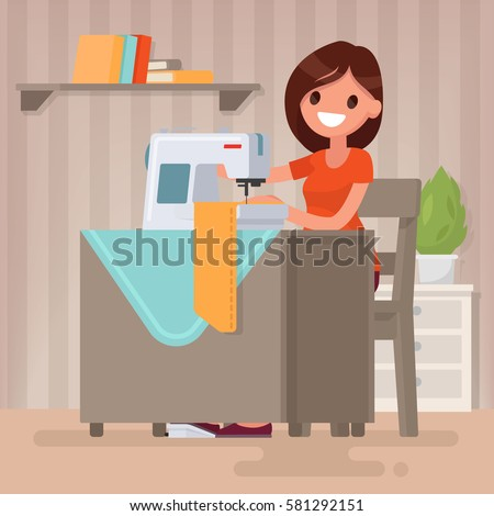 Woman housewife sews on the sewing machine. Vector illustration in a flat style