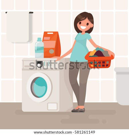 Woman housewife washes clothes in the washing machine. Vector illustration in a flat style