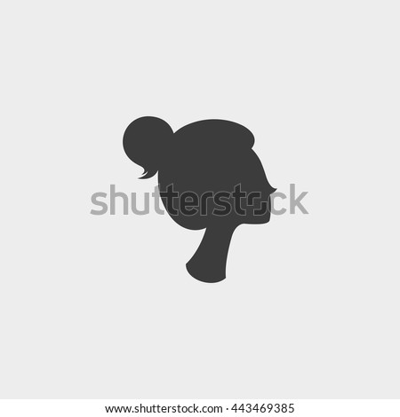woman icon profile in a flat design in black color. Vector illustration eps10 - stock vector