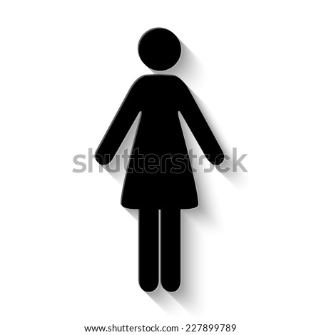 woman icon - vector illustration with shadow - stock vector