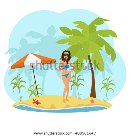 woman in a swimsuit on the beach eating ice cream. woman in bikini on the beach. woman in bikini on the beach with an ice cream. woman in a sexual pose on the beach. vector - stock vector