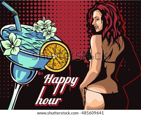 Woman in bikini, stripper with happy hour cocktail
