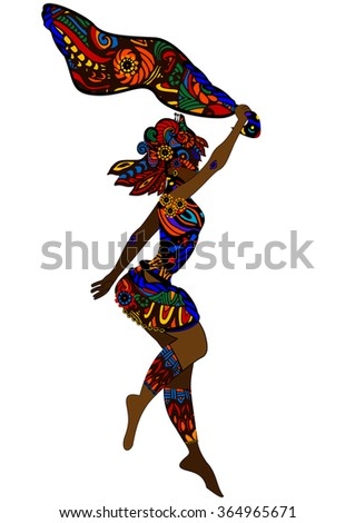 woman in ethnic style dancing a religious dance - stock vector