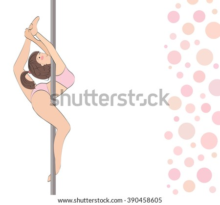Woman in red cloth on the pylon. Lesson striptease or fitness. Background with bubbles - stock vector