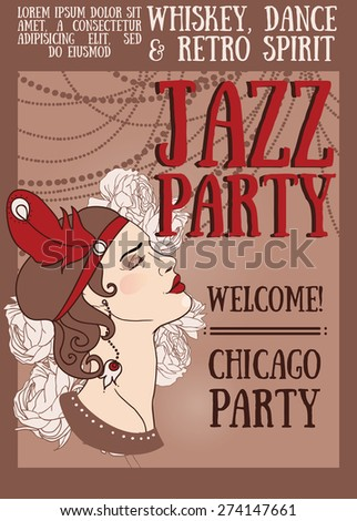 woman in retro style on Chicago party poster, vector illustration - stock vector