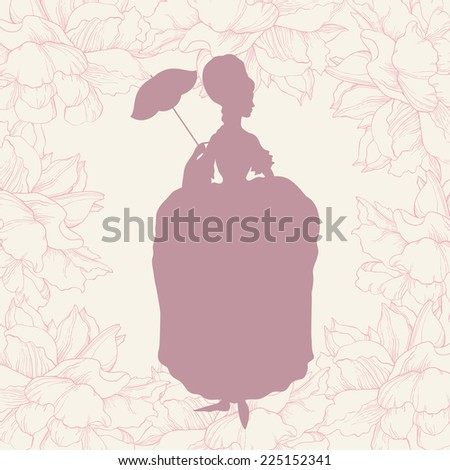 Woman in rococo style gown with umbrella - stock vector