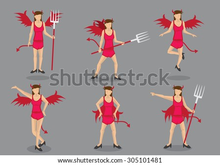 Woman in sexy red devil costume complete with wings, tail, horns and pitch fork. Set of six vector cartoon character illustrations isolated on grey background.  - stock vector