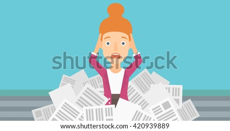 Woman in stack of newspapers. - stock vector