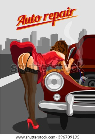 Woman in stockings  repairing the red car. Retro vector style illustration - stock vector