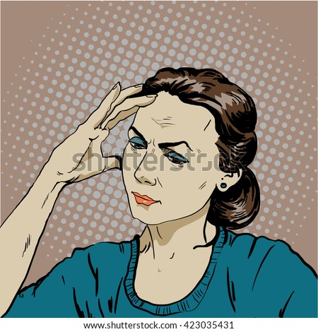 Woman in stress has headache. Vector illustration in pop art retro comic style. Thinking woman. - stock vector