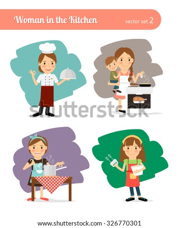 Woman in the Kitchen. Housewife Cooking cartoon character - stock vector