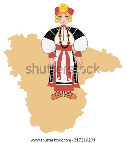 Woman in traditional folk costume of the Voroneg region on the background of the map of the region - stock vector