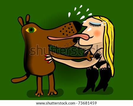 woman in underwear kisses her dog - stock vector