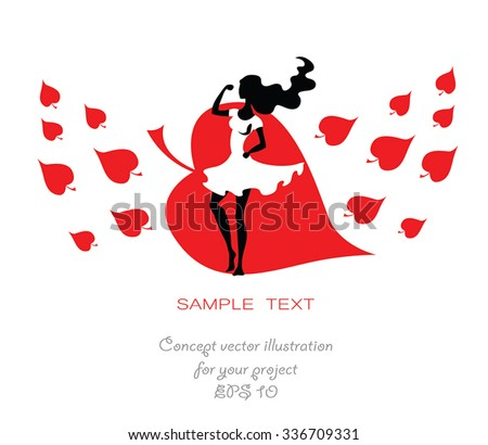 Woman in white dress vector illustration - red leaf fall on background. Black silhouette fashion beautiful lady. As greeting card for Women day or beauty salon, clothes shop sign. Isolated on white. - stock vector