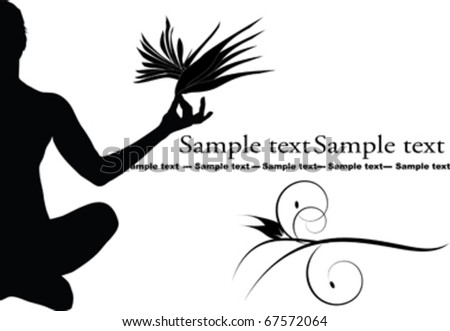 woman in yoga pose and flowers - stock vector