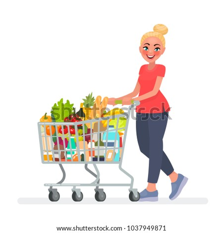 woman carrying grocery cart full groceries stock vector 1037949871 shutterstock. Black Bedroom Furniture Sets. Home Design Ideas