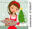 Woman is making christmas cookies. Eve is baking christmas cookies. Lifestyle vector Illustration - stock vector